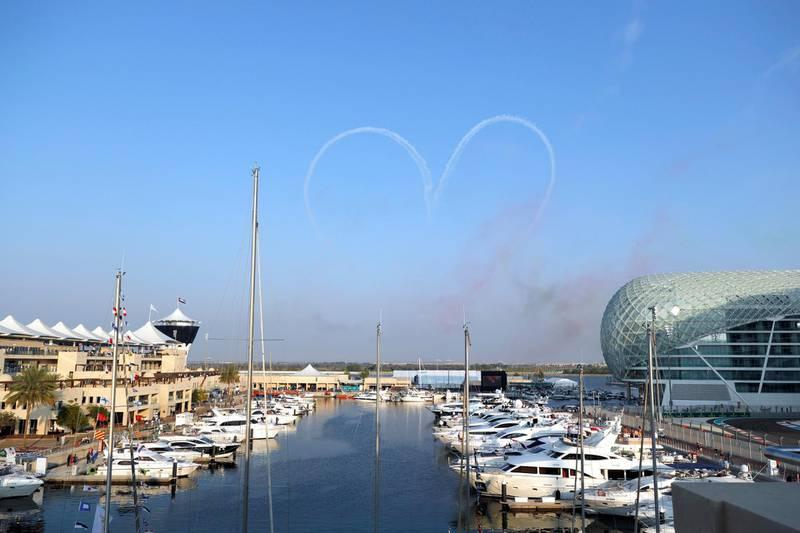 Abu Dhabi, United Arab Emirates, November 30, 2019.   Formula 1 Etihad Airways Abu Dhabi Grand Prix. --  Al Fursan Aerobatics display. Victor Besa / The National Section:  SP Reporter:  Simon Wilgress-Pipe