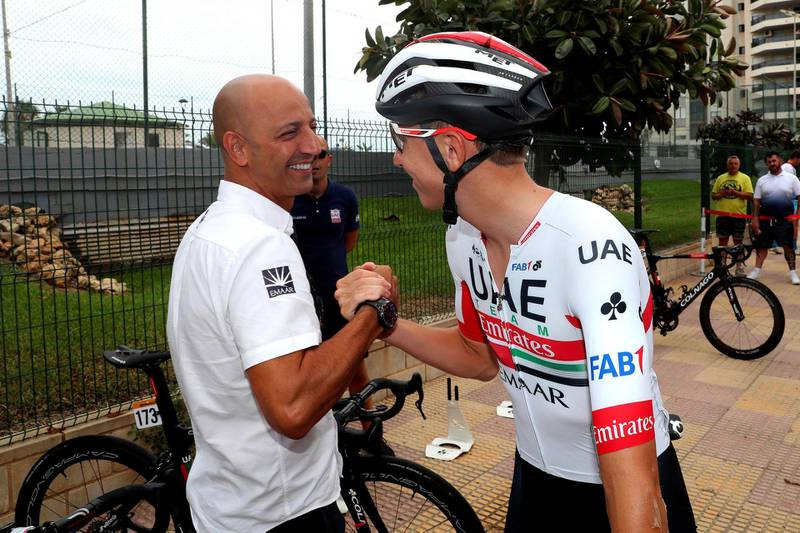Vuelta Espana 2019 - 74th Edition - 4th stage Cullera - El Puig 175,5 km - 27/08/2019 - Joxean Fernandez Matxin (ESP- Sports Director - UAE Team Emirates) - Tadej Pogacar (SLO - UAE - Team Emirates) - photo Luis Angel Gomez/BettiniPhoto©2019