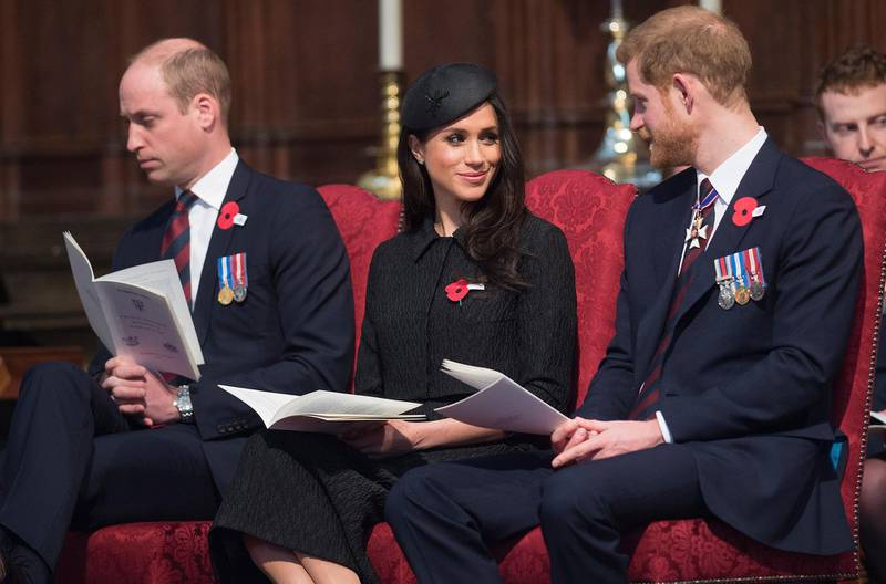 LONDON, ENGLAND - APRIL 25:  Prince William, Duke of Cambridge, Meghan Markle and Prince Harry attend an Anzac Day service at Westminster Abbey on April 25, 2018 in London, England. (Photo by Eddie Mulholland - WPA Pool/Getty Images)