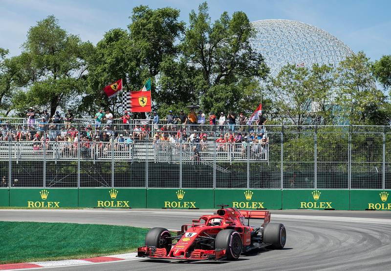 Ferrari driver Sebastian Vettel of Germany takes a turn at the hairpin during the third practice session for the F1 Canadian Grand Prix auto race, Saturday, June 9, 2018 in Montreal. (Graham Hughes/The Canadian Press via AP)