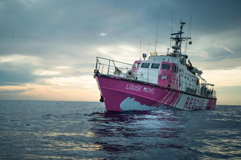 In this undated handout photo, the Louise Michel, a migrants search and rescue ship operating in the Mediterranean and financed by British street artist Banksy, is seen at sea. MV Louise Michel/Handout via REUTERS ATTENTION EDITORS THIS IMAGE HAS BEEN SUPPLIED BY A THIRD PARTY.