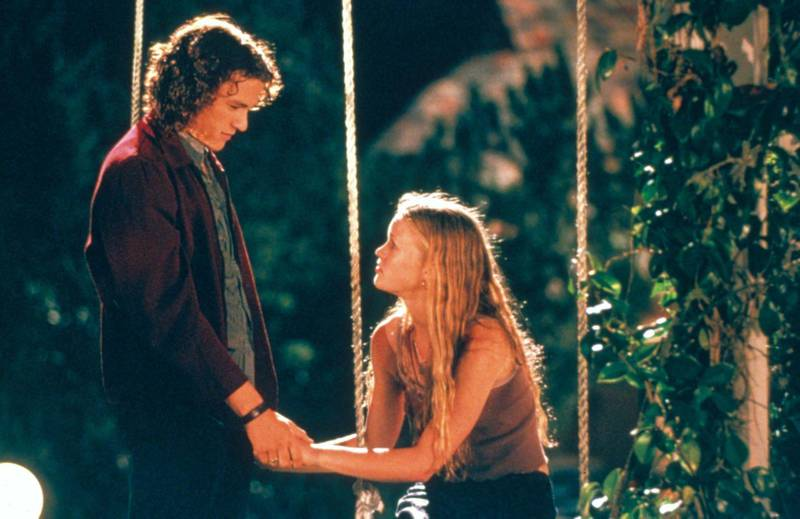 Heath Ledger and Julia Stiles in 10 Things I Hate About You. Courtesy Touchstone Pictures