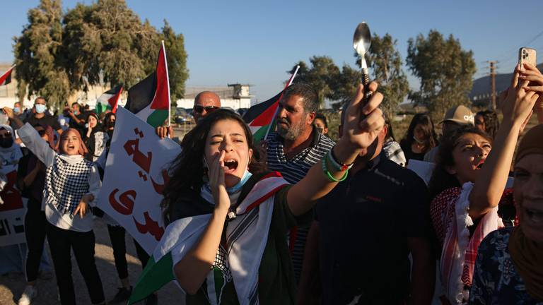 An image that illustrates this article Palestinians protest as last two escapees are re-captured - in pictures