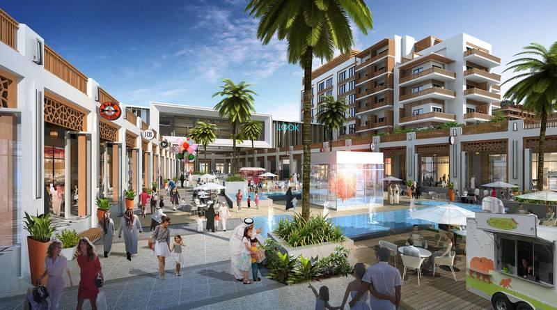 Yas Bay Promenade // ABU DHABI, UAE – 8 May 2017: Rendering of Miral's AED12 billion master development plan to transform the southern end of Yas Island in Abu Dhabi. The development is comprised of three distinct areas: Yas Bay, a vibrant public waterfront and entertainment district; the Media Zone, featuring the new campus of twofour54; and the Residences at Yas Bay, an urban island community, offering the complete Yas Island lifestyle. Courtesy Miral  *** Local Caption ***  Yas Bay Promenade.jpg