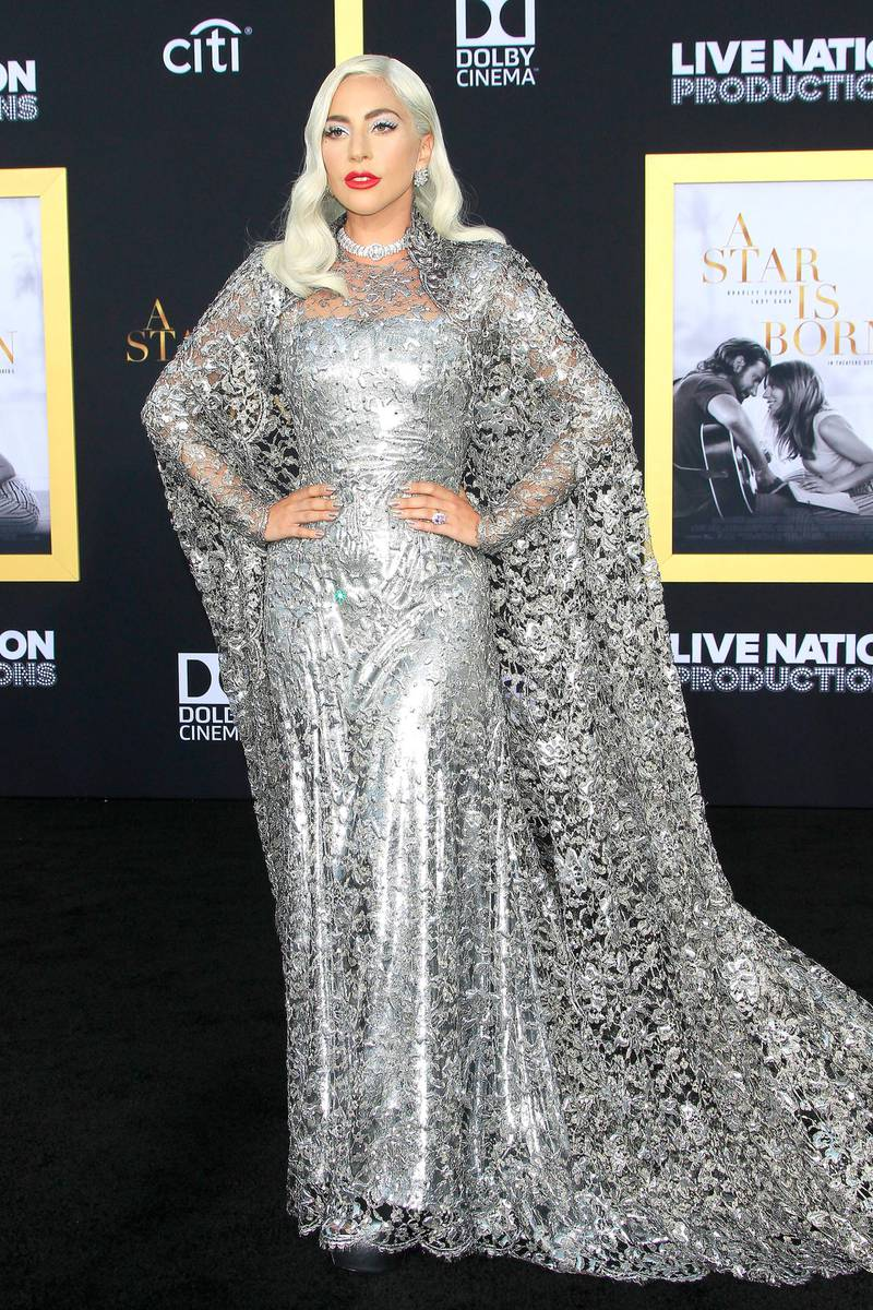 epa07044594 US singer/actress/cast member Lady Gaga arrives for the Premiere of Warner Bros. Pictures' A Star Is Born at the Shrine Auditorium in Los Angeles, California, USA, 24 September 2018. The movie will be released in the US on 05 October 2018.  EPA-EFE/NINA PROMMER