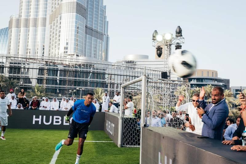 15.04.18  Match of Friendship - Pele XI vs. a Marcello Lippi XI. Didi defends the goal. Dubai Opera Garden, Dubai Opera, downtown Anna Nielsen For The National