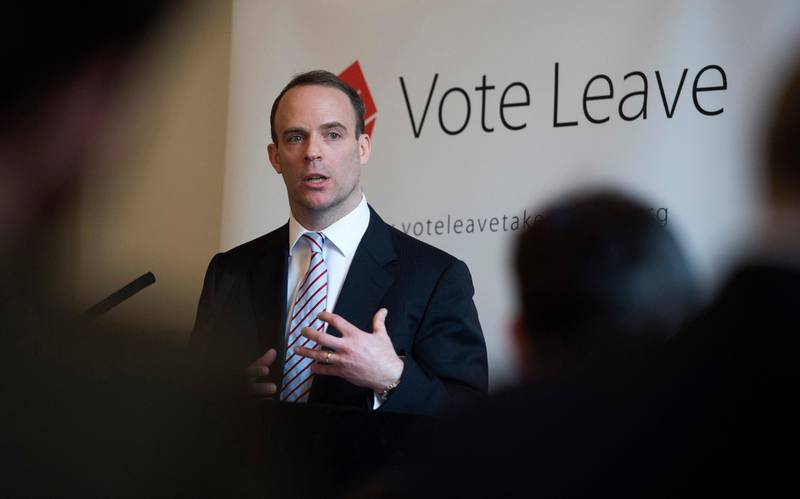 epa06874840 (FILE) - Conservative Member of Parliament and Justice Minister Dominic Raab delivers a speech at a 'Vote Leave' event at the Royal Horseguards Hotel, Central London, 30 March 2016, (reissued 09 July 2018). Reports state on 09 July 2018 that Dominic Raab has been appointed Brexit Secretary by Theresa May after David Davis resigned from the government on 08 July 2018.  EPA/WILL OLIVER *** Local Caption *** 52674284