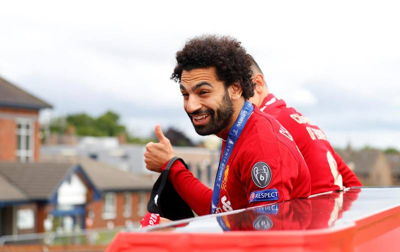 Soccer Football - Champions League - Liverpool victory parade - Liverpool, Britain - June 2, 2019  Liverpool's Mohamed Salah during the victory parade  REUTERS/Phil Noble