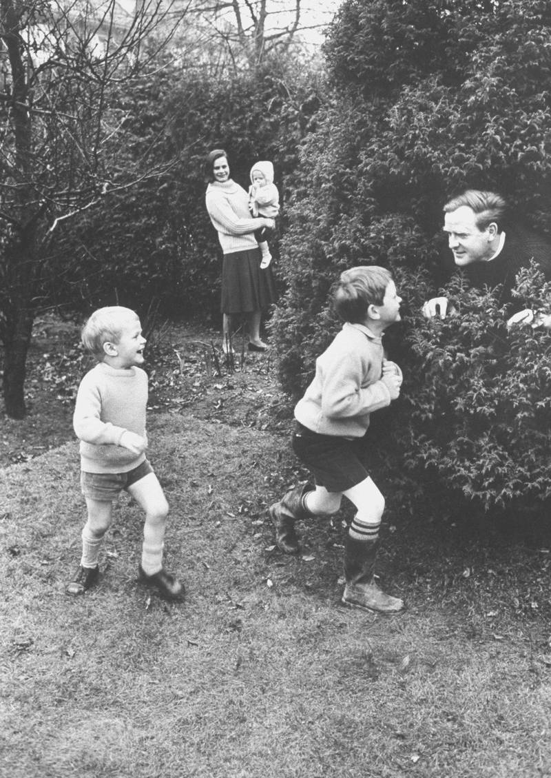 British spy-thriller writer David Cornwell, aka John le Carré at home with his wife Alison and their three sons, Stephen, Simon and baby Timothy.  (Photo by Ralph Crane/The LIFE Picture Collection via Getty Images)