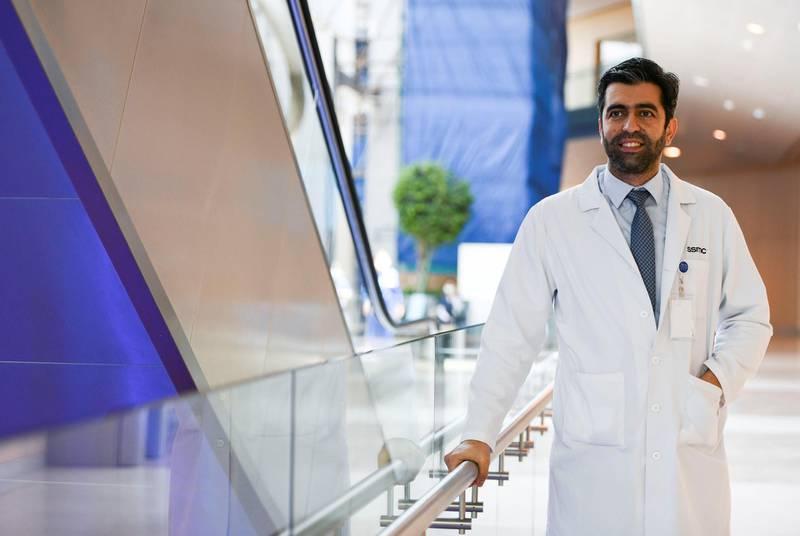 Trauma Awareness Week - AD Dr. Anas Alshorman, Paediatrician seen at the Trauma Awareness week event in Sheikh Shakhbout Medical City in Abu Dhabi on May 17, 2021. Khushnum Bhandari / The National  Reporter: Shireena Al Nowais News