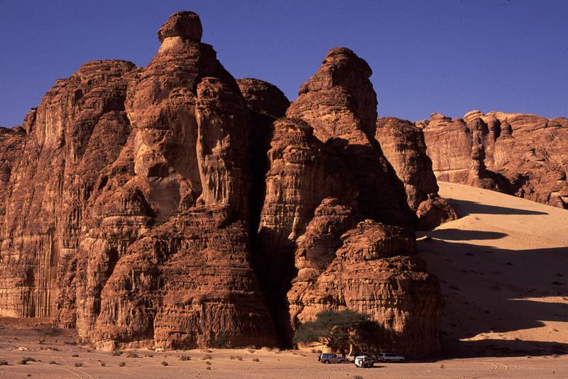 Desert scenery near Madain Saleh and Al-Ula, Saudi Arabia. Amar Grover for the National. for travel story saudi