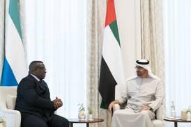 Sheikh Mohamed bin Zayed meets president of Sierra Leone