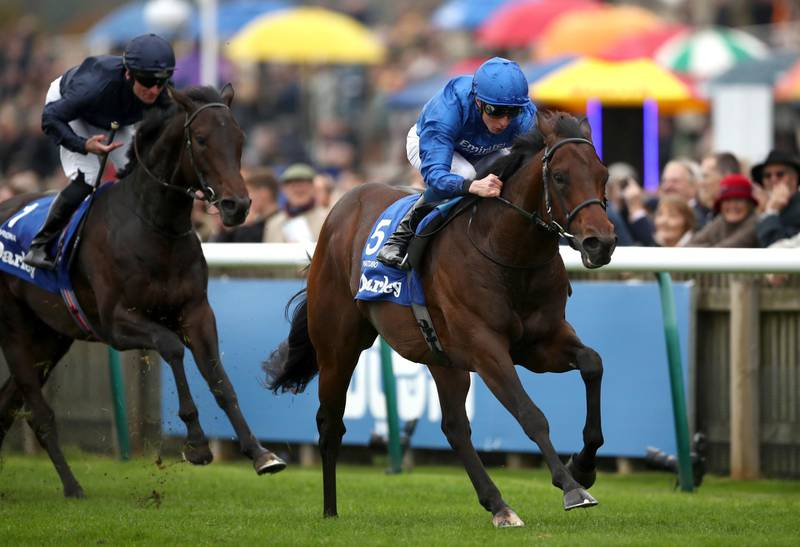 Pinatubo ridden by William Buick wins The Darley Dewhurst Stakes during day two of the Dubai Future Champions Festival at Newmarket Racecourse. PA Photo. Picture date: Saturday October 12, 2019. See PA story RACING Newmarket. Photo credit should read: Tim Goode/PA Wire