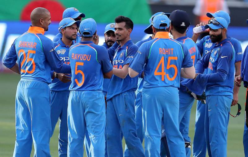 DUBAI , UNITED ARAB EMIRATES, September 28 , 2018 :- Yuzvendra Chahal ( center ) of India celebrating after taking the wicket of Imrul Kayes during the final of Unimoni Asia Cup UAE 2018 cricket match between Bangladesh vs India held at Dubai International Cricket Stadium in Dubai. ( Pawan Singh / The National )  For News/Sports/Instagram/Big Picture. Story by Paul
