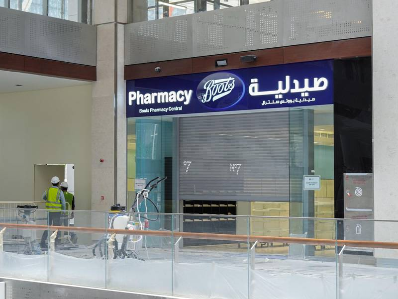 Abu Dhabi, United Arab Emirates, July 25, 2019. Exclusive tour of new expansion of Galleria, Abu Dhabi.   Store front of Boots Pharmacy.Victor Besa/The NationalSection:  IFReporter:  Panna Munyal