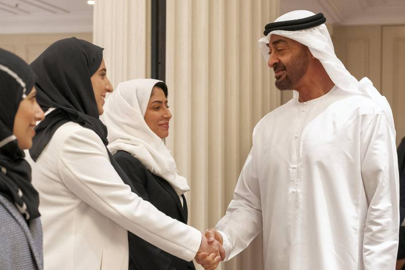 BERLIN, GERMANY - June 12, 2019: HH Sheikh Mohamed bin Zayed Al Nahyan, Crown Prince of Abu Dhabi and Deputy Supreme Commander of the UAE Armed Forces (R), greets Emirati students who are studying in Germany.  ( Rashed Al Mansoori / Ministry of Presidential Affairs ) ---