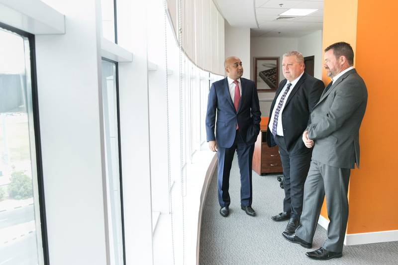 DUBAI, UNITED ARAB EMIRATES - MAY 16, 2018.  Kausik Pindoria, left, Partner and Financial Analyst at Abacus Financial Consultants; Graham Thornton, Partner and Compliance Manager; Cornelius Lillis, Managing Director.  (Photo by Reem Mohammed/The National)  Reporter: Alice Haine Section: BZ