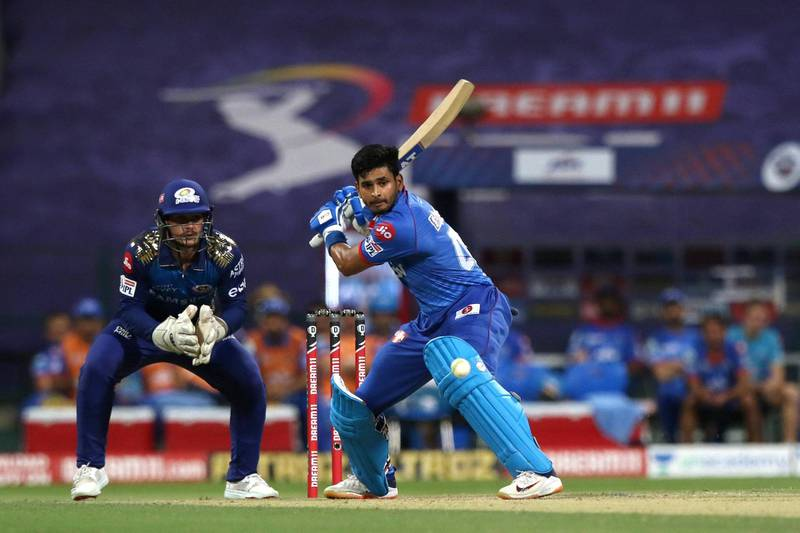 Shreyas Iyer captain of Delhi Capitals plays a shot during match 27 of season 13 of the Dream 11 Indian Premier League (IPL) between the Mumbai Indians and the Delhi Capitals at the Sheikh Zayed Stadium, Abu Dhabi  in the United Arab Emirates on the 11th October 2020.  Photo by: Pankaj Nangia  / Sportzpics for BCCI