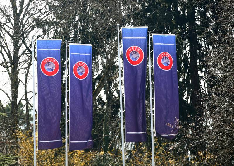FILE PHOTO: The headquarters of the Union Europenne de Football Amateur (UEFA) is pictured before an Excecutive Committee meeting in Nyon, Switzerland, March 17, 2020. REUTERS/Denis Balibouse/File Photo
