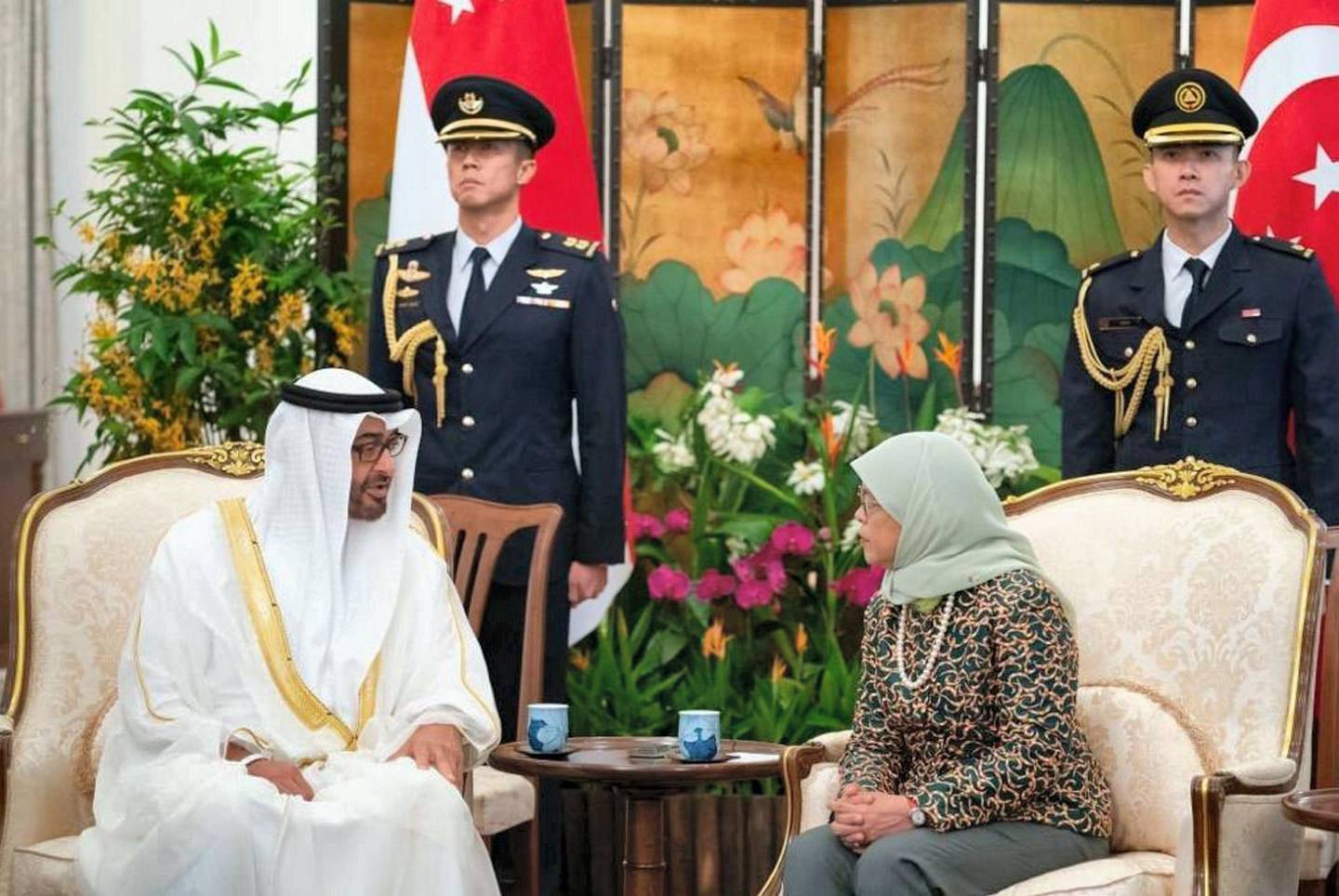 Mohamed_Bin_Zayed Pleased to visit the Republic of Singapore and meet with Her Excellency Halimah Yacob. We're both keen to further strengthen our bilateral ties and are optimistic about their future. MBZ twitter account