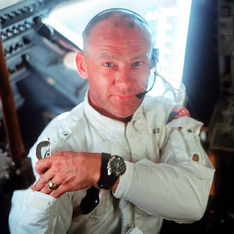 """This July 20, 1969 photo made available by NASA shows pilot Edwin """"Buzz"""" Aldrin in the Apollo 11 Lunar Module. For the 50th anniversary of the landing, Omega issued a limited edition Speedmaster watch, a tribute to the one that Aldrin wore to the moon. (Neil Armstrong/NASA via AP)"""
