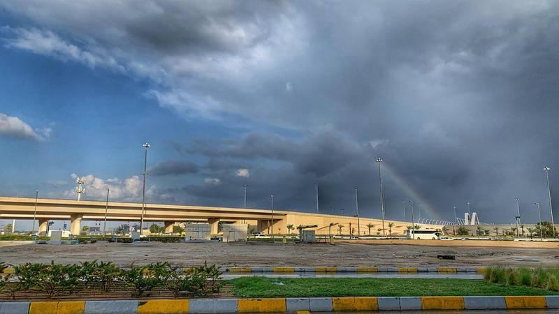 A rainbpw appears among the clouds in Abu Dhabi. Talib Jariwala / The National
