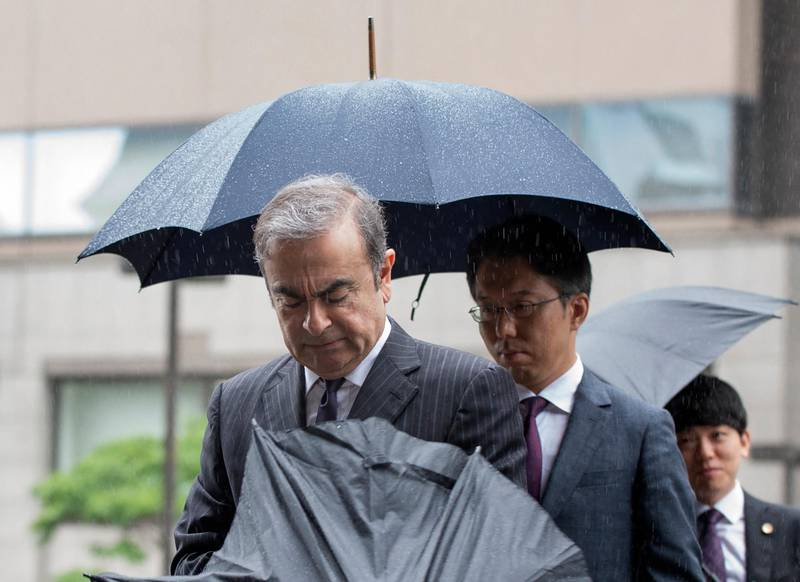 Former Nissan Motor Chairman Carlos Ghosn arrives for a pre-trial hearing at the Tokyo District Court in Tokyo on June 24, 2019. - The former Nissan chief was bailed for a second time on April 25 and is now preparing for trial on four charges of financial misconduct ranging from concealing part of his salary, to using Nissan funds for personal expenses. (Photo by Kazuhiro NOGI / AFP)