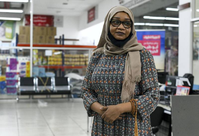Residents and Heat in Sweihan-AD  Hawa Al Hadi, 32, originally from Sudan, owner of Sweihan Travel & Tourism, lives in Sweihan for the past 13 years on June 9, 2021. Reporter: Haneen Dajani News