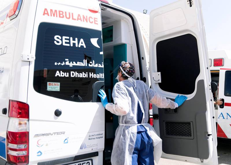ABU DHABI, UNITED ARAB EMIRATES. MAY 2020.Consultant physician at the emergency department in Sheikh Khalifa Medical City, receives a COVID 19 patient that have arrived in an ambulance. (Photo: Reem Mohammed/The National)Reporter:Section: