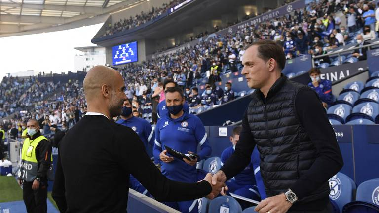 An image that illustrates this article Chelsea v Man City: Guardiola tasked with trying to unlock Tuchel's tactics