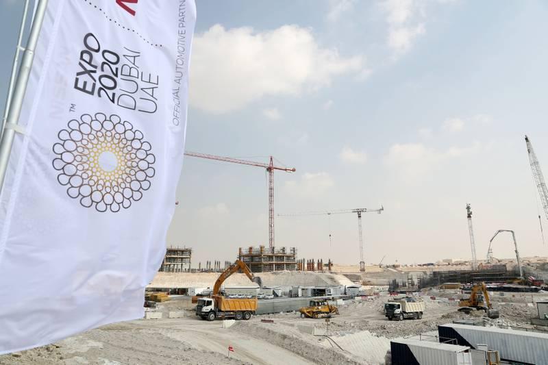 Dubai, United Arab Emirates - November 12th, 2017: Construction work on the Expo 2020 site at the Al Wasl Plaza. Sunday, November 12th, 2017 at Expo 2020 Site, Mohammad Bin Zayed Road, Dubai. Chris Whiteoak / The National