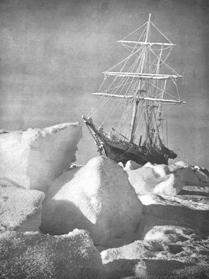 """ANTARCTICA - 1915:  Explorer Ernest Shackleton's ship """"Endurance"""" trapped and being slowly crushed by ice in the Weddell Sea during his 2nd expedition to the Antarctic.  (Photo by Mansell/Mansell/Time & Life Pictures/Getty Images)"""