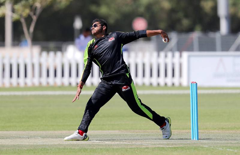 ABU DHABI, UNITED ARAB EMIRATES , Nov 13  – 2019 :- Hassan Khalid of  Qalandars T10 cricket team bowling during the training session held at Sheikh Zayed Cricket Stadium in Abu Dhabi. ( Pawan Singh / The National )  For Sports. Story by Paul
