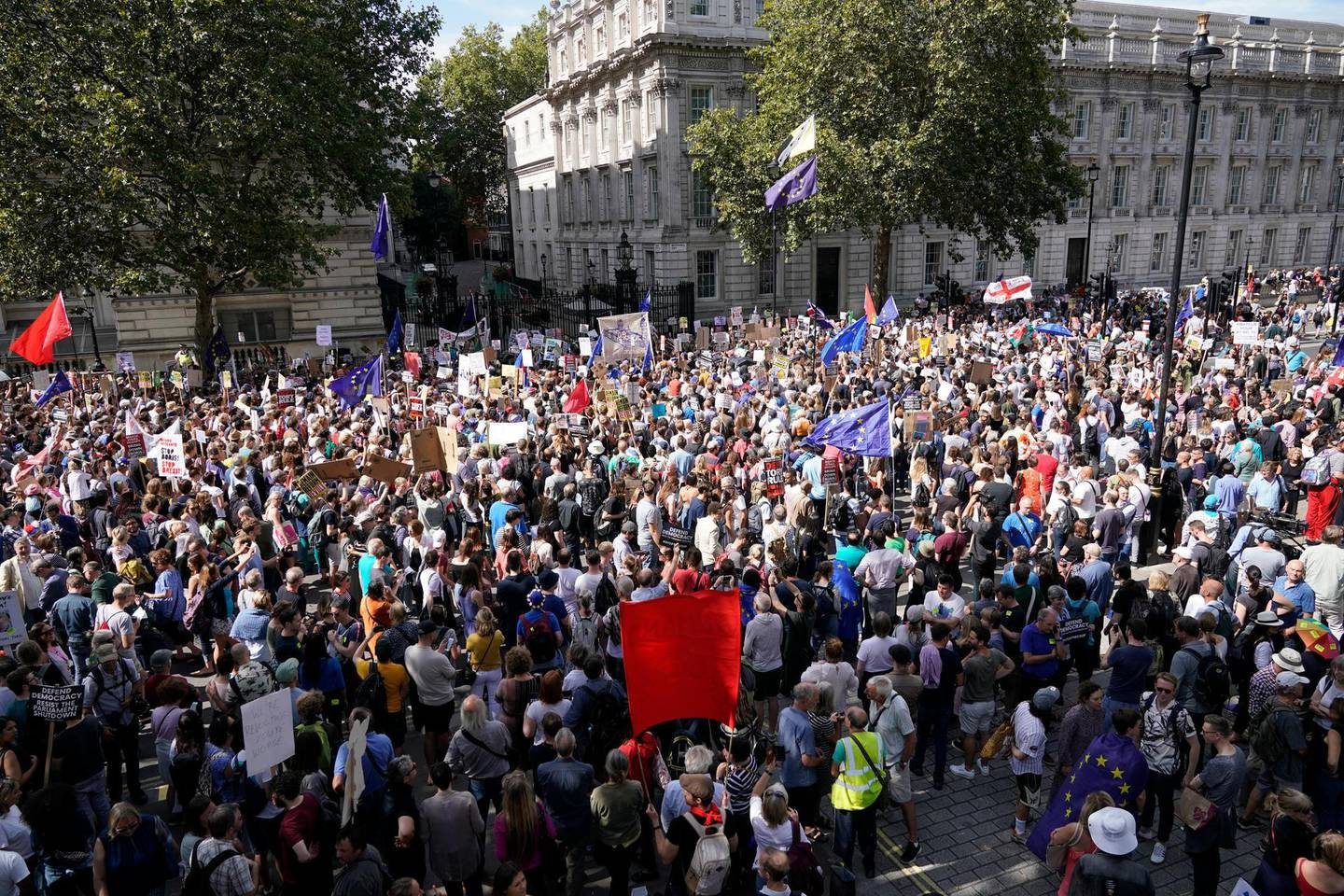"""LONDON, ENGLAND - AUGUST 31: Anti-Brexit demonstrators protest in Whitehall on August 31, 2019 in London, England. Left-wing group Momentum and the People's Assembly are coordinating a series of """"Stop The Coup"""" protests across the UK aimed at Boris Johnson and the UK government proroguing Parliament. (Photo by Chris Furlong/Getty Images)"""