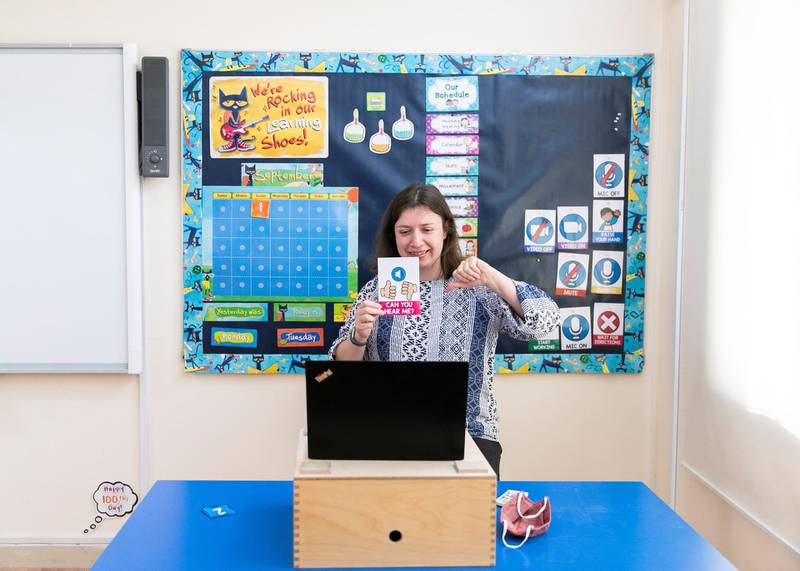 DUBAI, UNITED ARAB EMIRATES. 1 SEPTEMBER 2020. A teacher at Bright Learners Private School talks to students via online distance learning. (Photo: Reem Mohammed/The National)Reporter:Section: