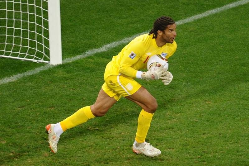 England's goalkeeper David James makes a save during the Group C first round 2010 World Cup football match England vs. Algeria on June 18, 2010 at Green Point stadium in Cape Town. NO PUSH TO MOBILE / MOBILE USE SOLELY WITHIN EDITORIAL ARTICLE   -       AFP PHOTO / HOANG DINH NAM / AFP PHOTO / HOANG DINH NAM