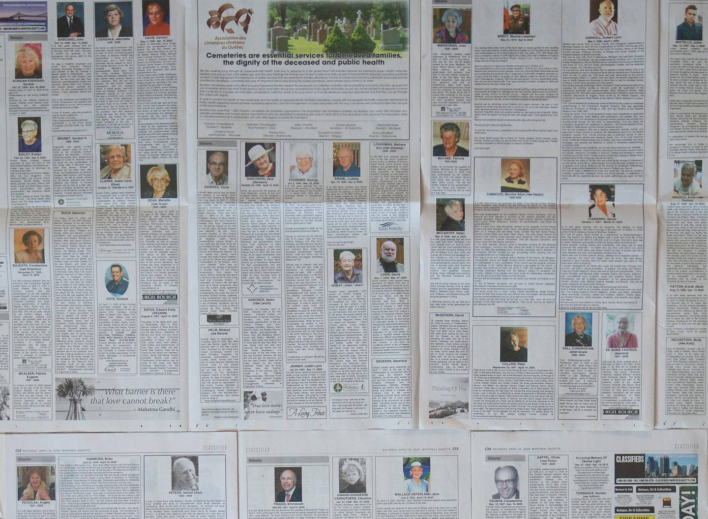 The Montreal Gazette newspaper has seven pages dedicated to obituaries, amid the outbreak of the coronavirus disease (COVID-19), in Montreal, Quebec, Canada April 18, 2020. REUTERS/Christinne Muschi