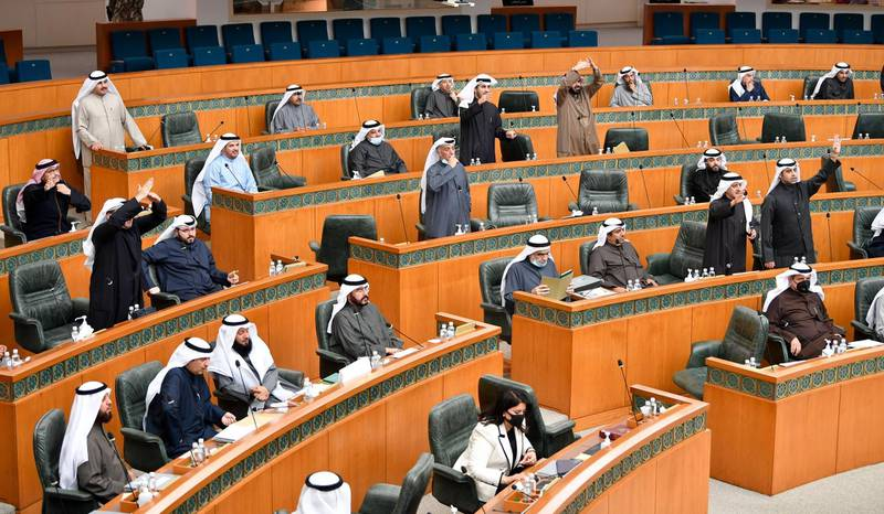 epa08920141 General view of a parliament session in Kuwait's parliament in Kuwait city, Kuwait, on 05 January 2021.  EPA/Noufal Ibrahim