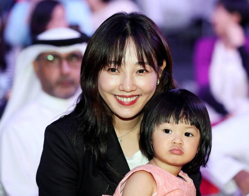 Abu Dhabi, United Arab Emirates - July 15, 2018: Actress Baihe Bai with Adora 2. Week of UAE/China events to build up the State Visit of Xi Jinping. A cultural day. Sunday, July 15th, 2018 in Manarat Al Saadiyat, Abu Dhabi. Chris Whiteoak / The National