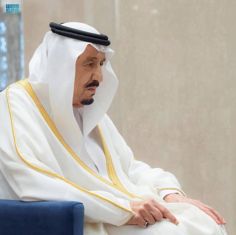 Saudi's King Salman performs prayers for Eid al-Fitr. SPA