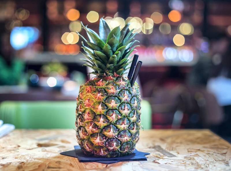 DUBAI, UNITED ARAB EMIRATES - A virgin pinacolada drink at a  preview of new entertainment complex, Warehouse at Atlantis The Palm Dubai.  Leslie Pableo for The National for Katy Gillett's story