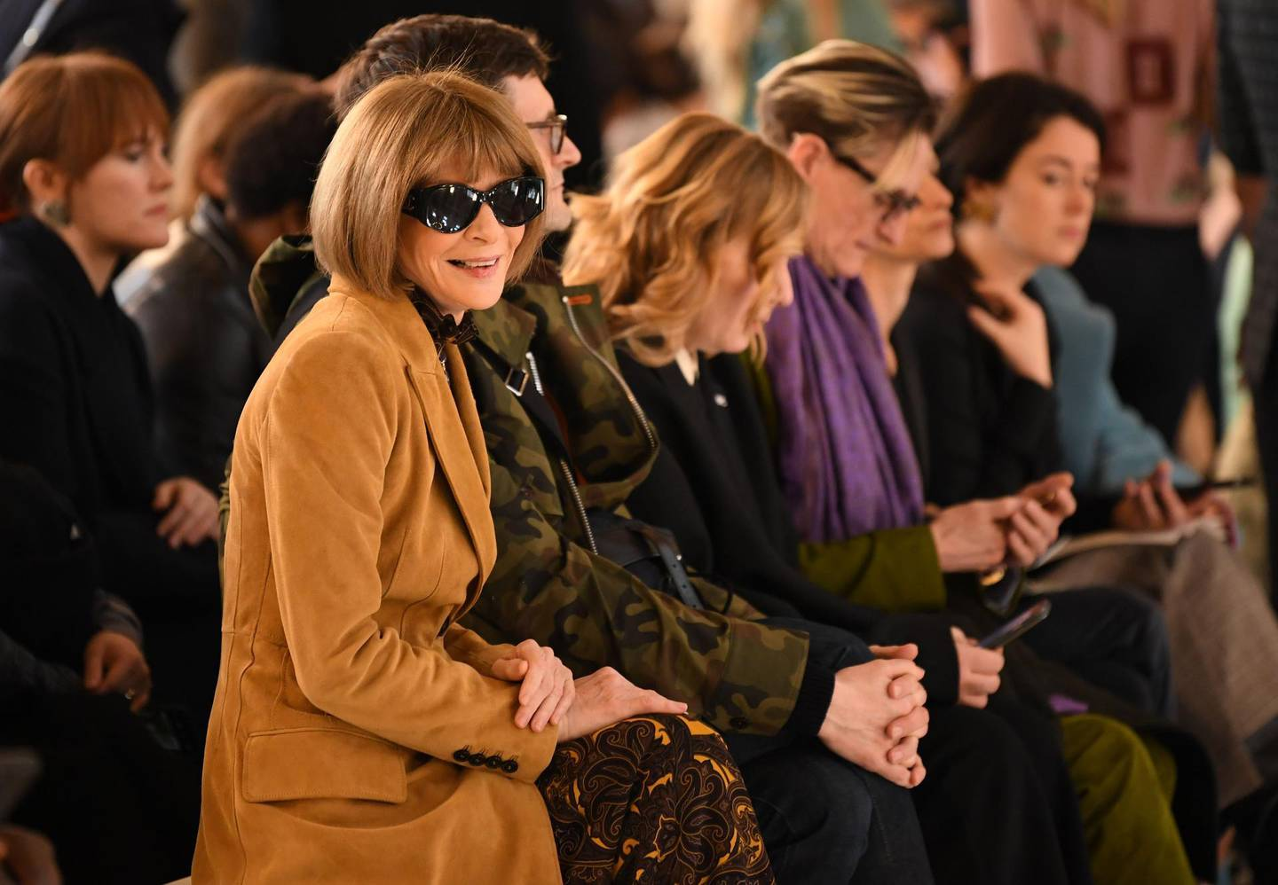 Vogue chief editor Anna Wintour takes her seat in the front row for the catwalk show by fashion house Victoria Beckham during their Autumn/Winter 2020 collection on the third day of London Fashion Week in London on February 16, 2020.  / AFP / DANIEL LEAL-OLIVAS