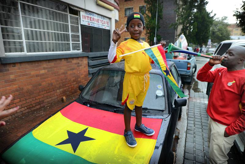 NOT FOR RESALE JOHANNESBURG - 20130120 - A young Ghana supporters knows Ghana has scored 2 goals against Congo already.  Photo: Bram Lammers  NOT FOR RESALE. COPYRIGHT BRAM LAMMERS PHOTOGRAPHY