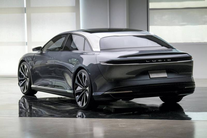 The Lucid Air prototype electric vehicle, manufactured by Lucid Motors Inc., is displayed at the company's headquarters in Newark, California, U.S., on Monday, Aug. 3, 2020. The final specs and design of the Lucid Air are due to be unveiled at an event in September and executives say customers can now expect delivery of the first batch of Airs in spring 2021. Photographer: David Paul Morris/Bloomberg