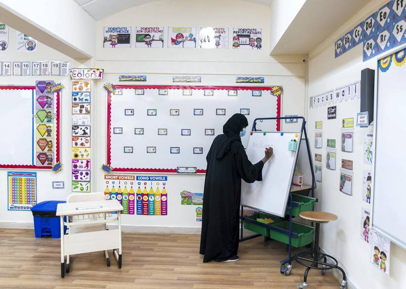 DUBAI, UNITED ARAB EMIRATES. 1 SEPTEMBER 2020. Bright Learners Private School prepares for the new term.(Photo: Reem Mohammed/The National)Reporter:Section: