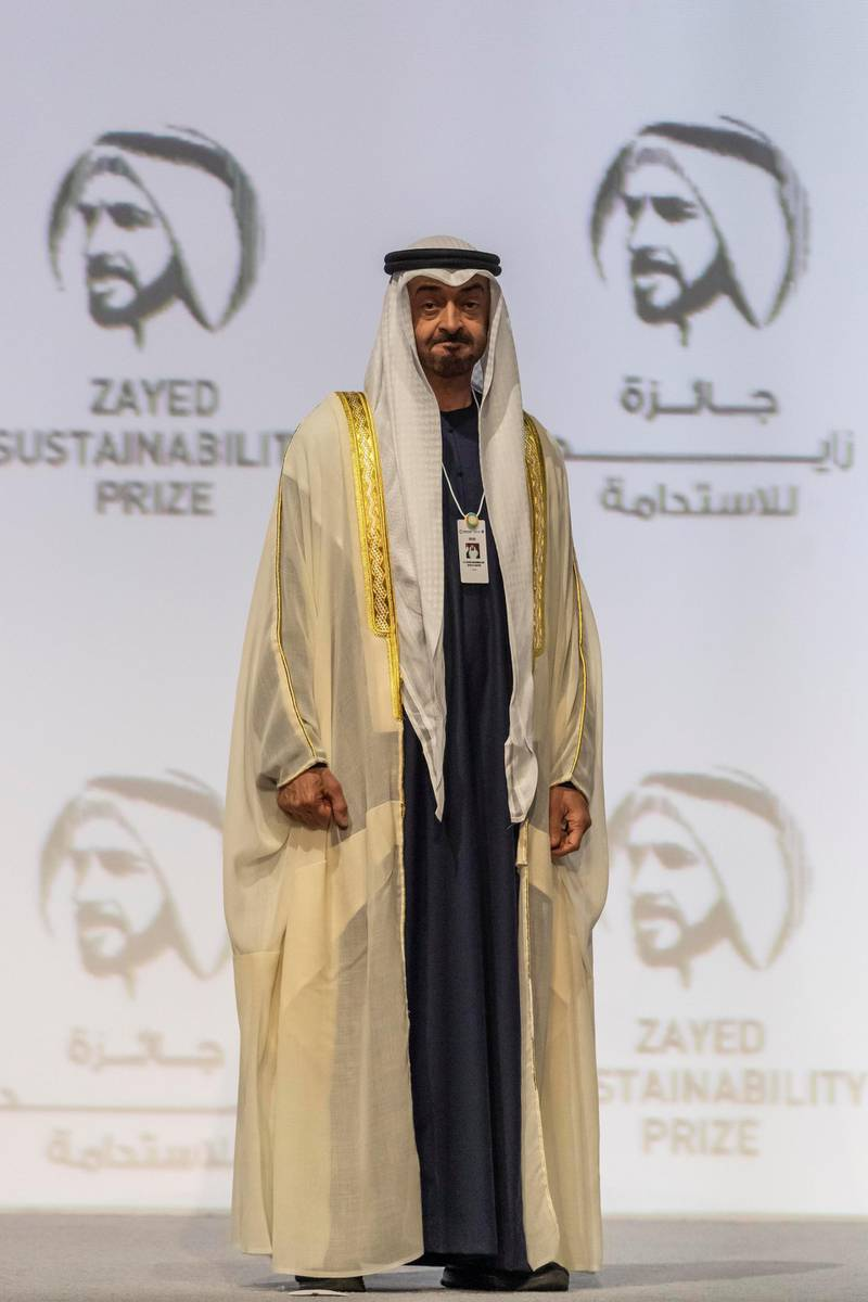 ABU DHABI, UNITED ARAB EMIRATES. 13 JANUARY 2020. The Zayed Sustainability Awards held at ADNEC as part of Abu Dhabi Sustainability Week. H.E. Joko Widodo, President of the Republic of Indonesia. H.E. Sheikh Mohammed bin Zayed Al Nahyan, Crown Prince of Abu Dhabi and Deputy Supreme Commander of the United Arab Emirates Armed Forces. (Photo: Antonie Robertson/The National) Journalist: Kelly Clarker. Section: National.
