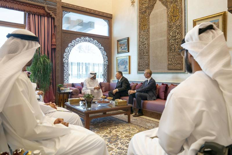 ABU DHABI, UNITED ARAB EMIRATES - September 19, 2019: HH Sheikh Mohamed bin Zayed Al Nahyan, Crown Prince of Abu Dhabi and Deputy Supreme Commander of the UAE Armed Forces (back L), meets Michael R Pompeo, Secretary of State of the United States of America (Back R), at the Sea Palace   ( Mohamed Al Hammadi / Ministry of Presidential Affairs ) ---