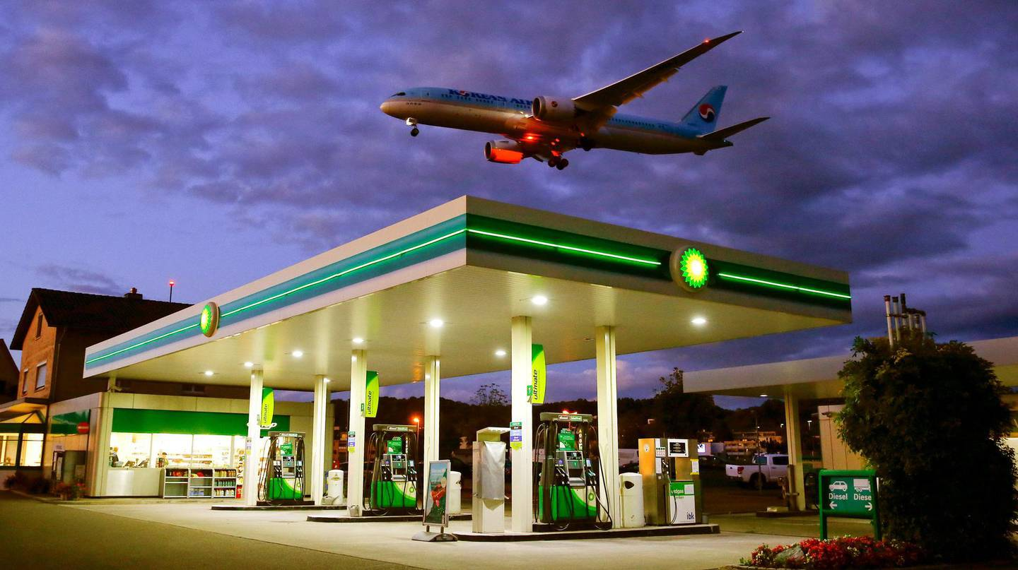 FILE PHOTO: An aircraft of Korean Airlines is seen above a BP petrol station approaching to land at Zurich Airport in Kloten, Switzerland October 3, 2017. REUTERS/Arnd Wiegmann/File Photo             GLOBAL BUSINESS WEEK AHEAD      SEARCH GLOBAL BUSINESS 30 OCT FOR ALL IMAGES