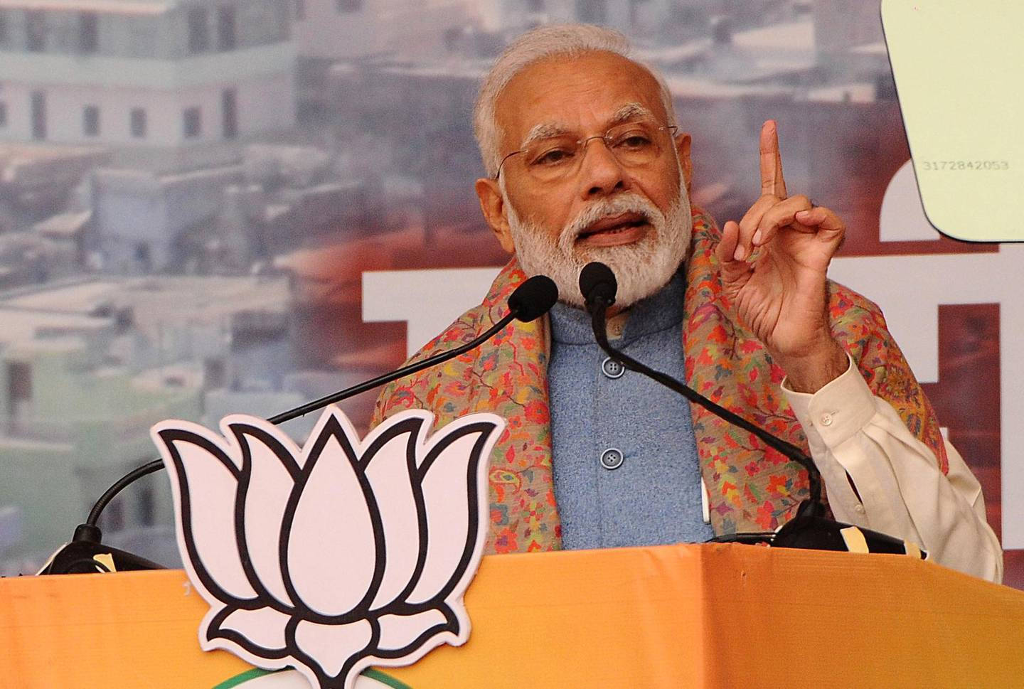 epa08086542 Indian Prime Minister Narendra Modi addresses a rally to launch Bharatiya Janata Party's (BJP) campaign for the upcoming Delhi assembly elections in New Delhi, India, 22 December 2019. Delhi Assembly elections are scheduled to be held in 2020.  EPA/STR