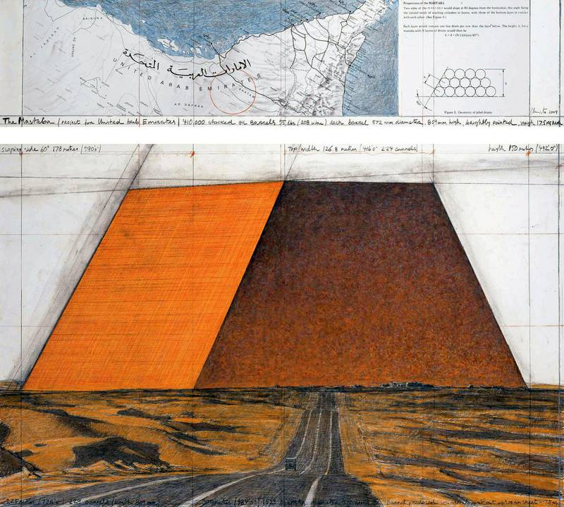 """Christo The Mastaba (Project for United Arab Emirates) Drawing 2009 in two parts 15 x 65"""" and 42 x 65"""" (38 x 165 cm and 106.6 x 165 cm) Pencil, charcoal, wax crayon, pastel, technical data and map Photo: Wolfgang Volz © 2009 Christo Print Size: 9 3/4 x 10 3/4"""" (24.7 x 27.4 cm) *** Local Caption ***  na15mr-focus-christo7.jpg"""